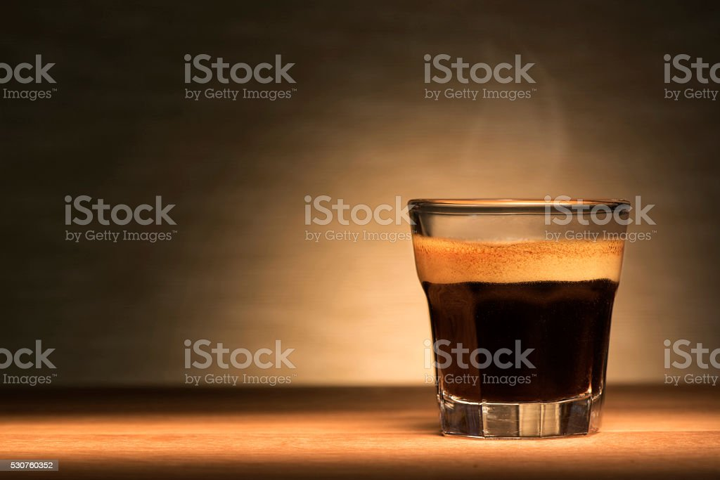 Espresso coffee on a wooden table stock photo