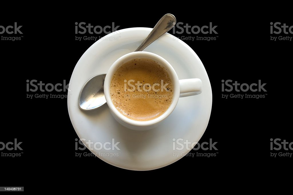 Espresso coffee on plate top view royalty-free stock photo
