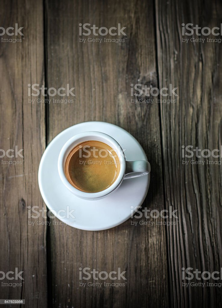 Espresso coffee on the vintage wood table stock photo
