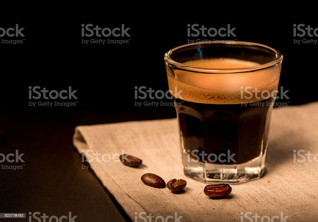 Espresso coffee with beans stock photo