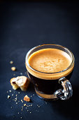 Espresso coffee with crumbs of cantuccini
