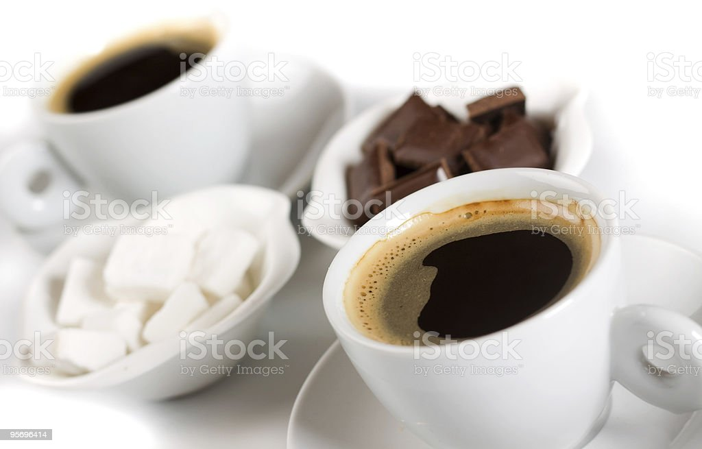 Espresso coffee with sugarcubes and chocolate royalty-free stock photo