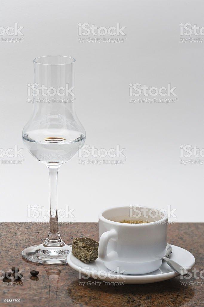 Espresso con Grappa royalty-free stock photo