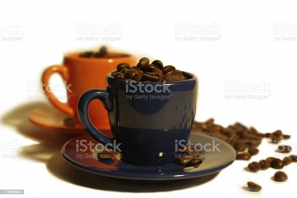 espresso cups with coffee beans royalty-free stock photo