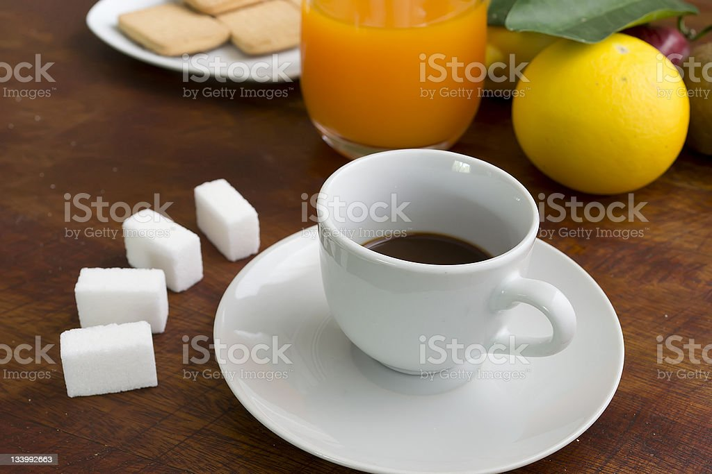 espresso, fruits and cookies royalty-free stock photo