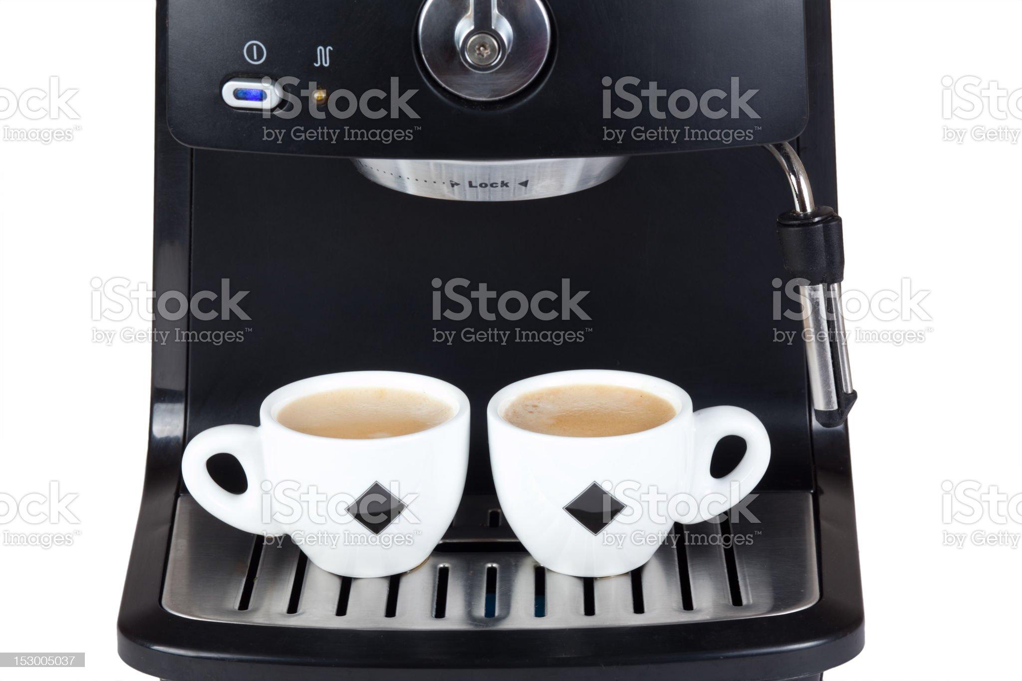 Espresso machine brewing a coffee royalty-free stock photo