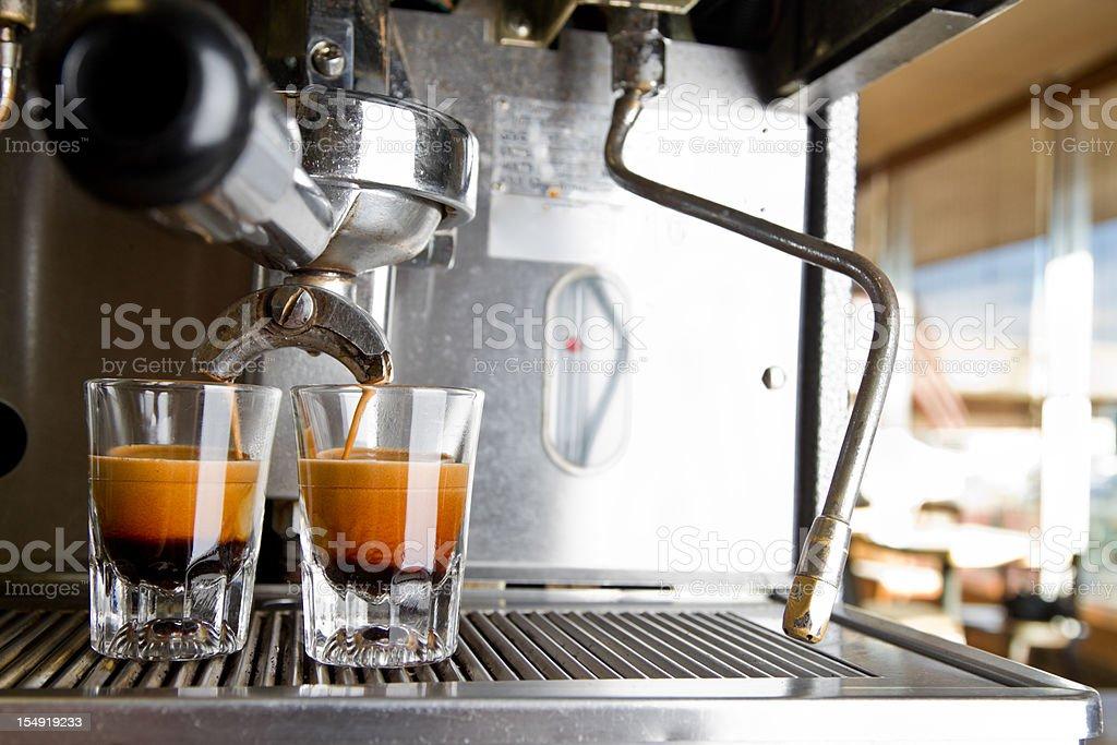 Espresso Machine Making a Double Shot royalty-free stock photo