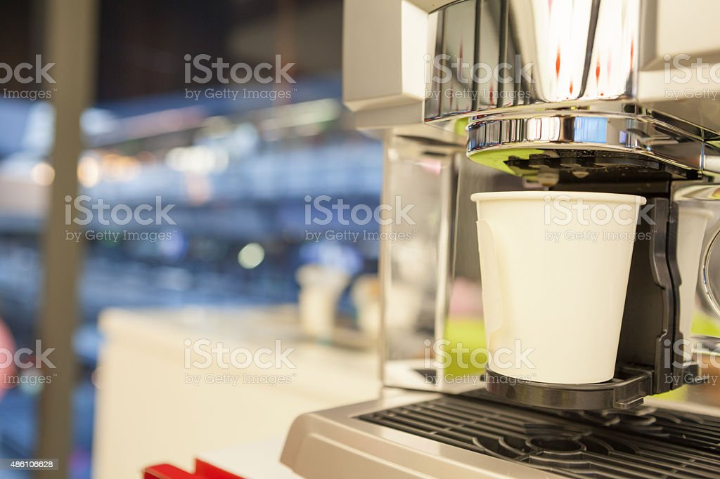 Espresso machine making coffee. stock photo