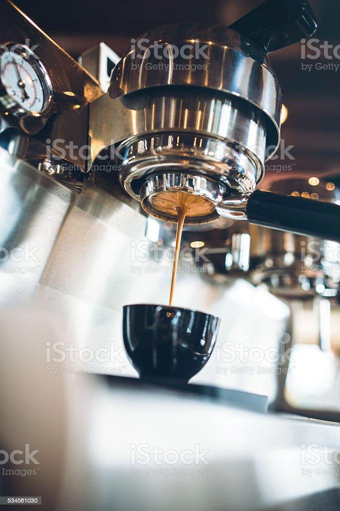 Espresso Machine Pulling a Shot stock photo
