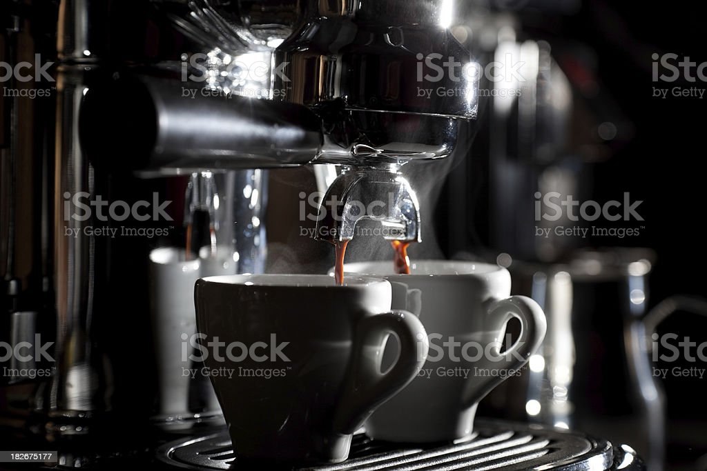 Espresso making with a classic machine. royalty-free stock photo
