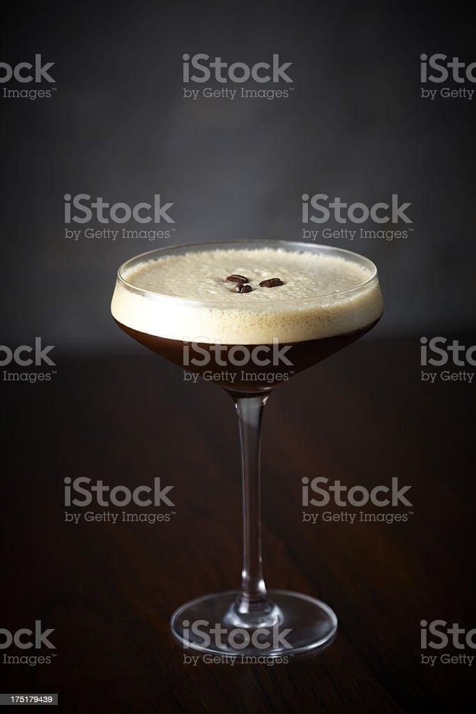 Espresso Martini cocktail on bar stock photo