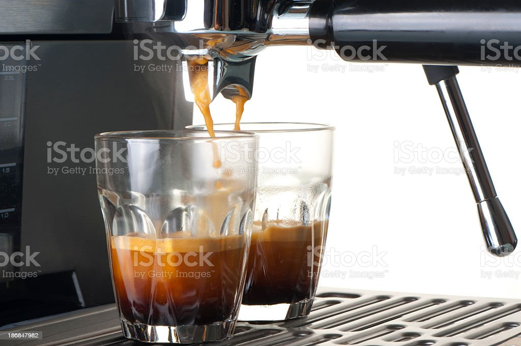 Espresso shot glasses with coffee royalty-free stock photo