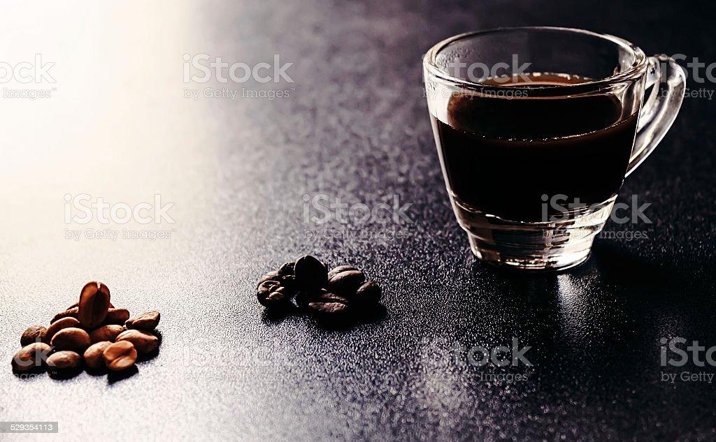 Espresso with coffee bean stock photo