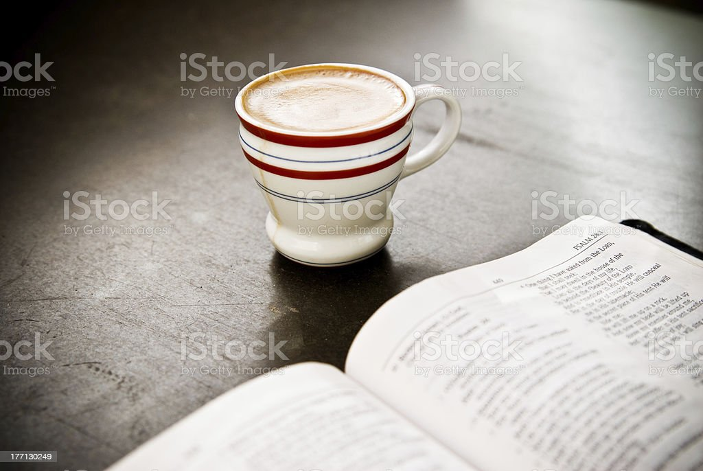 Espresso with Morning Devotions royalty-free stock photo