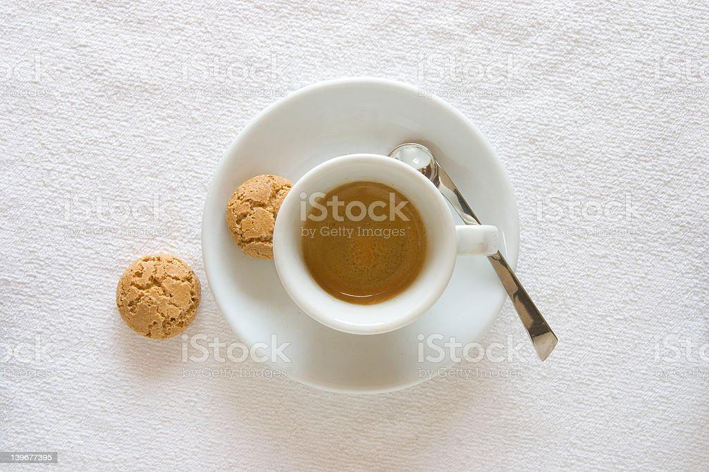 Espresso with two biscotti royalty-free stock photo