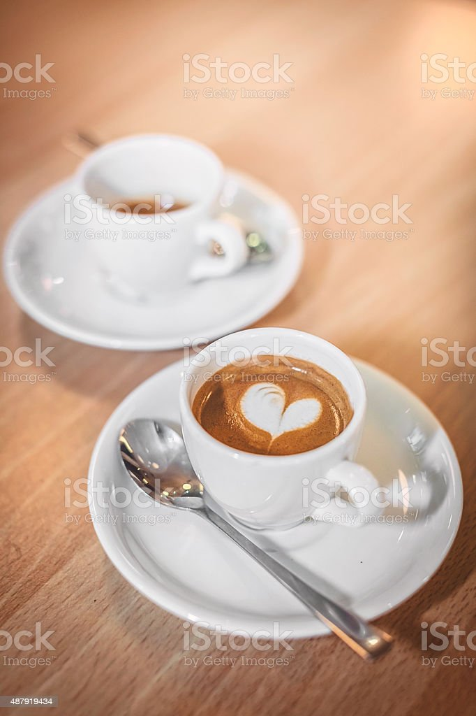 Espressos with a heart stock photo