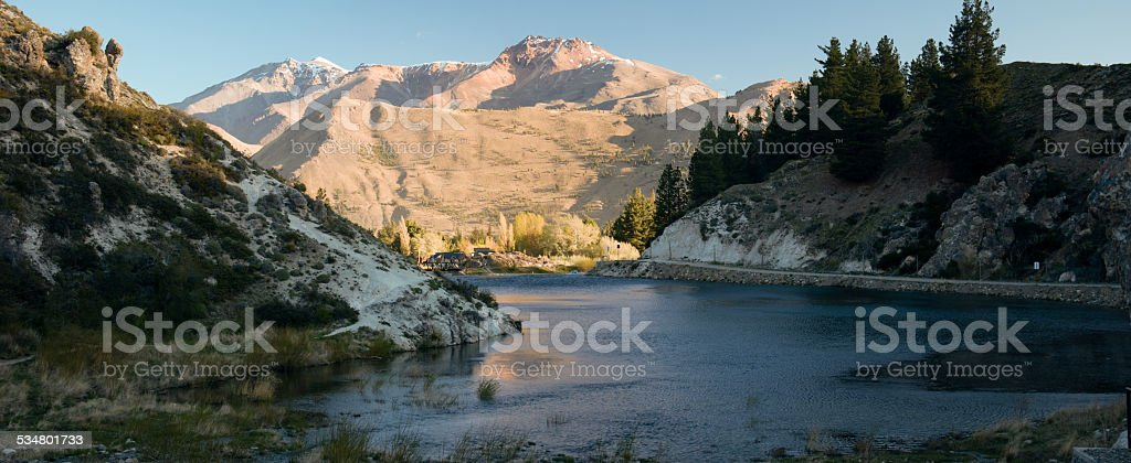 esquel argentina river with mountains stock photo