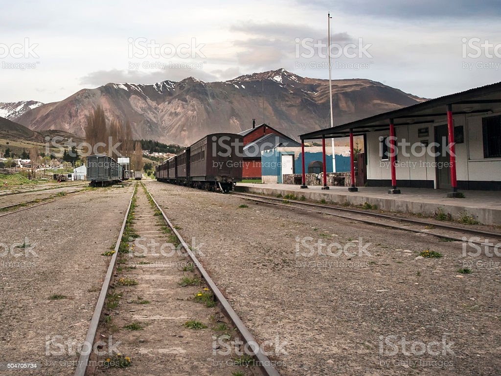 Esquel Railway Station, Chubut Province, Patagonia, Argentina stock photo