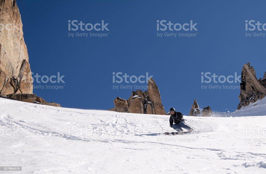Esquiando en Patagonia stock photo
