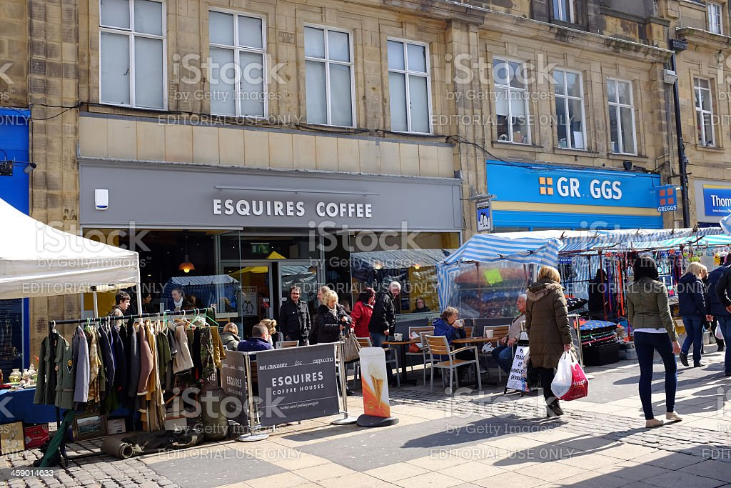 Esquires Coffee and Greggs in Lancaster royalty-free stock photo