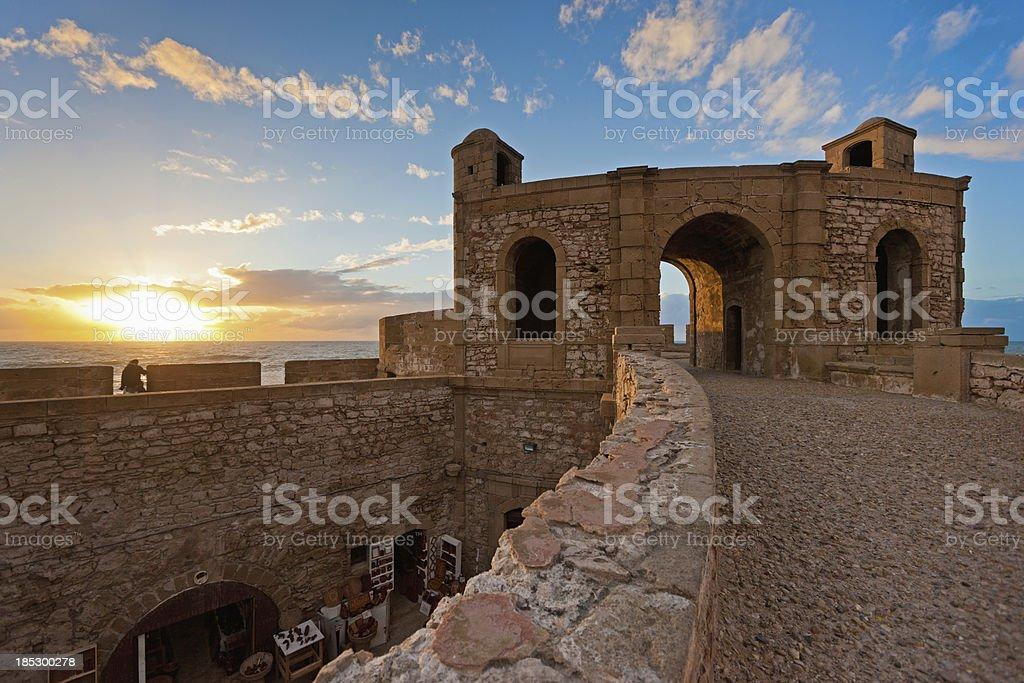 Essaouira Fortress Sunset Morocco stock photo