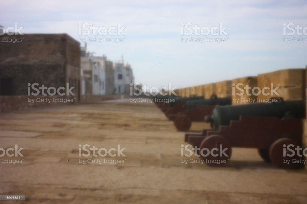 Essaouira ramparts by pinhole stock photo