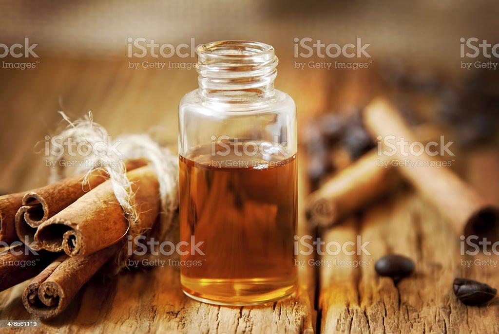 Essence Bottle and Cinnamon stock photo