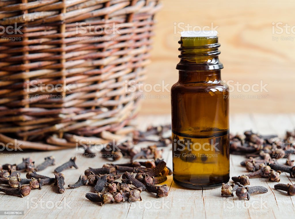 Essential clove oil stock photo