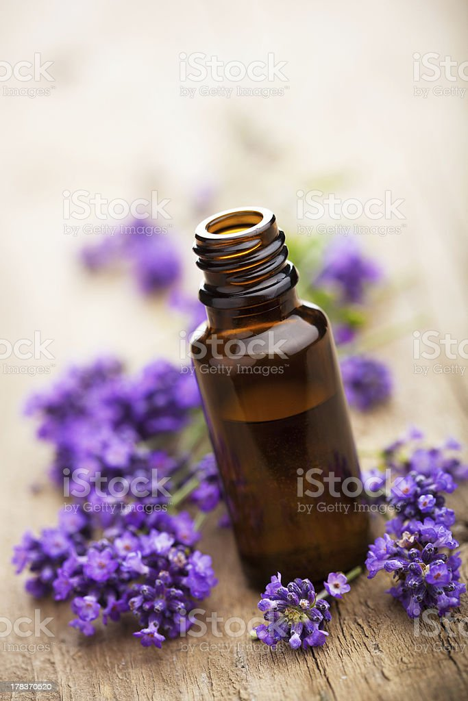 essential oil and lavender flowers royalty-free stock photo