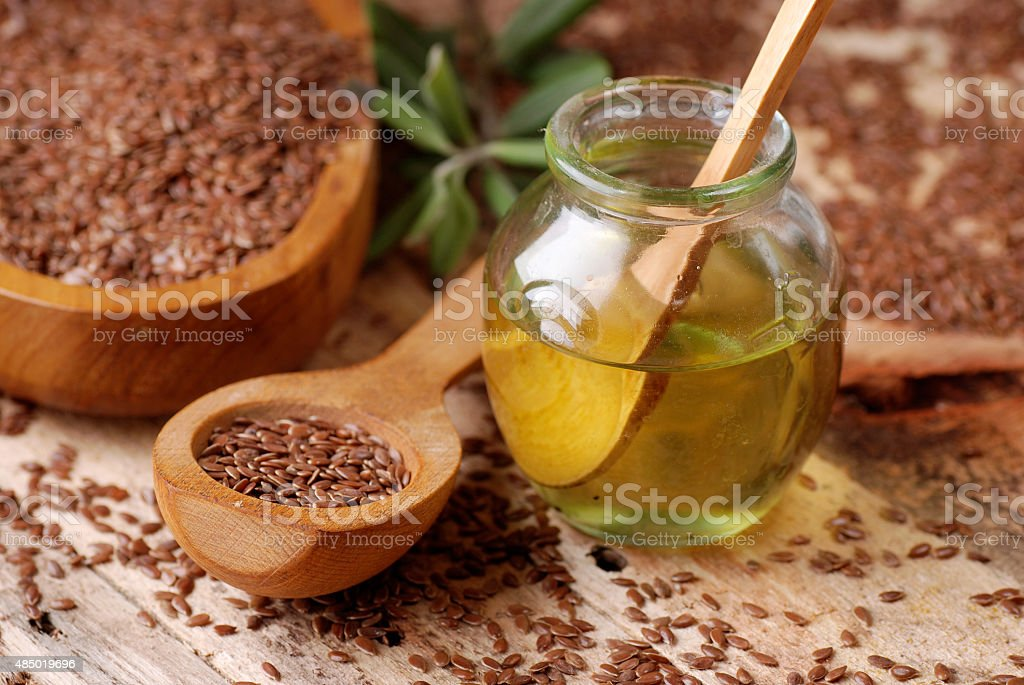 essential oil linseed stock photo
