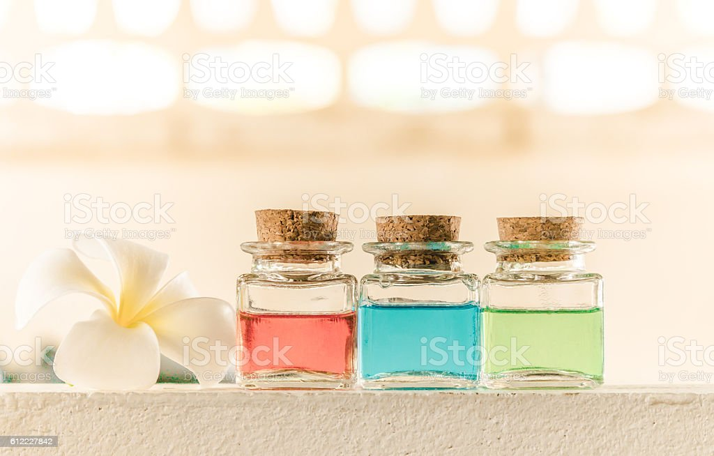 Essential oil on wood for spa,gold color filter style stock photo