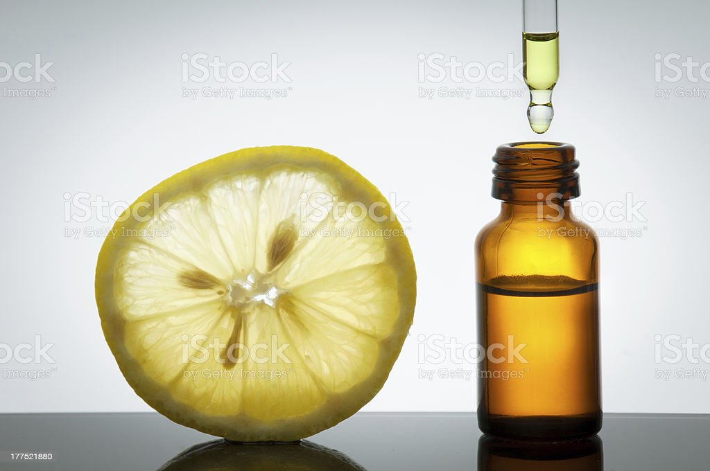 Essential oil with  lemon royalty-free stock photo
