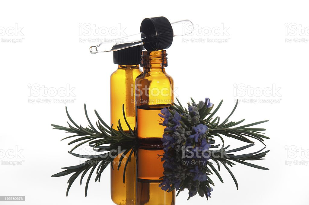 Essential oil with rosemary royalty-free stock photo