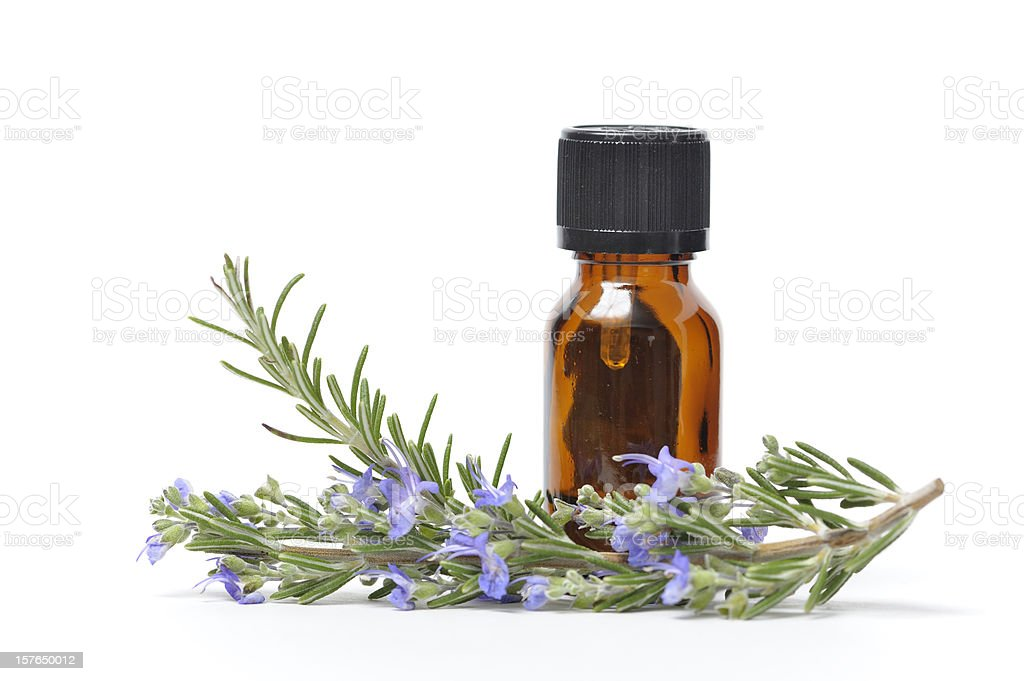Essential Oil with Sprigs of Fresh Rosemary stock photo