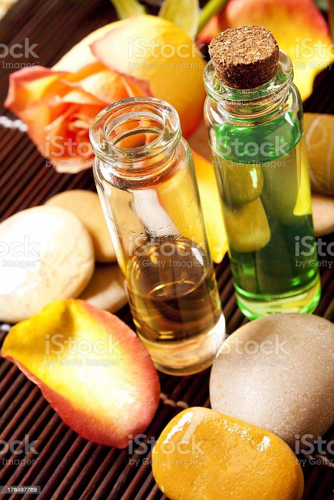 Essential oils bottles stock photo