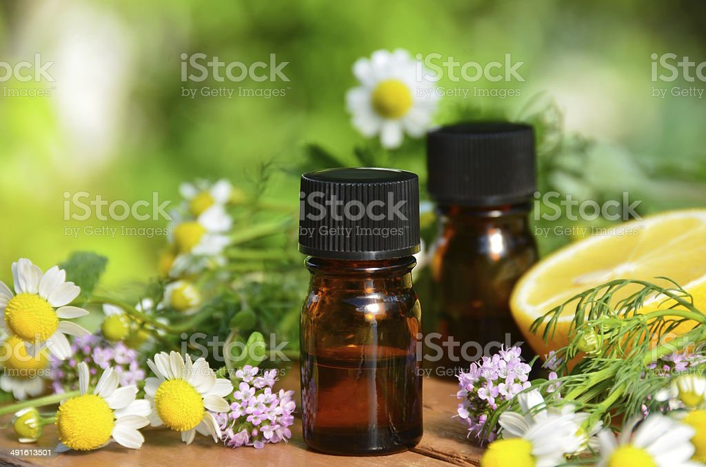 essential oils with lemon and herbs stock photo