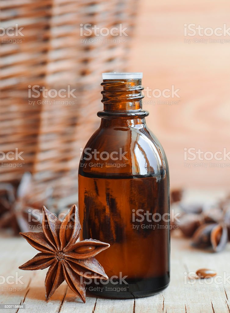 Essential star anise oil stock photo