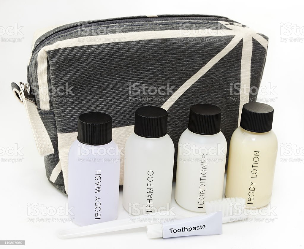 Essential travel toiletries royalty-free stock photo