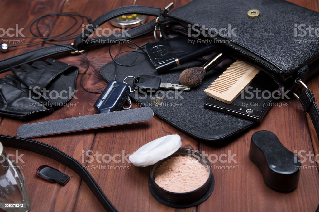 Essentials fashion woman objects on wooden background stock photo