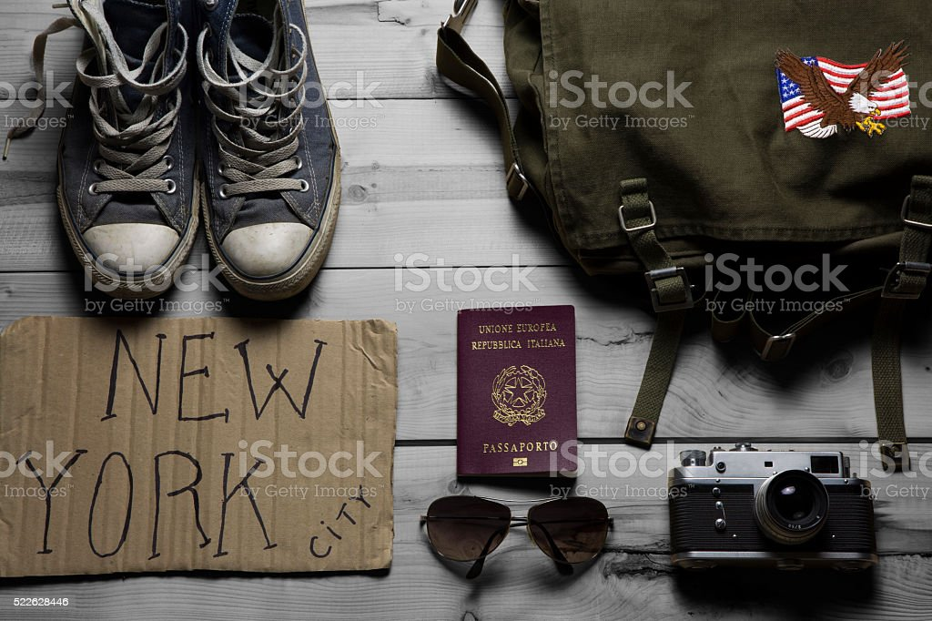 essentials for a travel stock photo