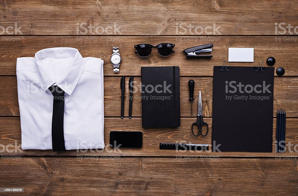Essentials for office worker stock photo