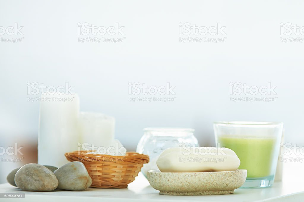 Essentials for the perfect spa experience stock photo