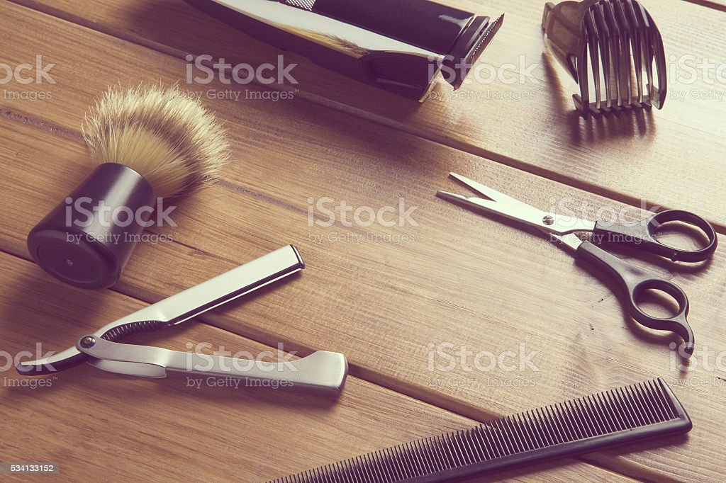 essentials tools for barber stock photo