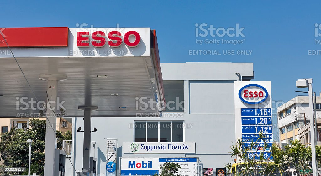 Esso gas station in Paphos, Cyprus. stock photo