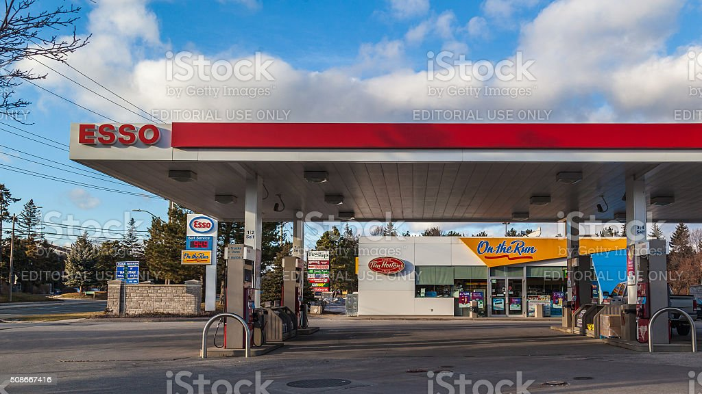 Esso gas station with On the Run and Tim Hortons® stock photo