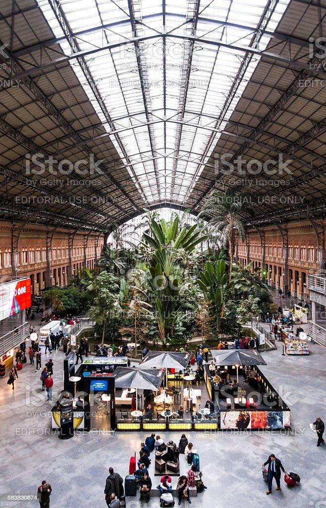 estacion de atocha station Madrid vertical inside stock photo