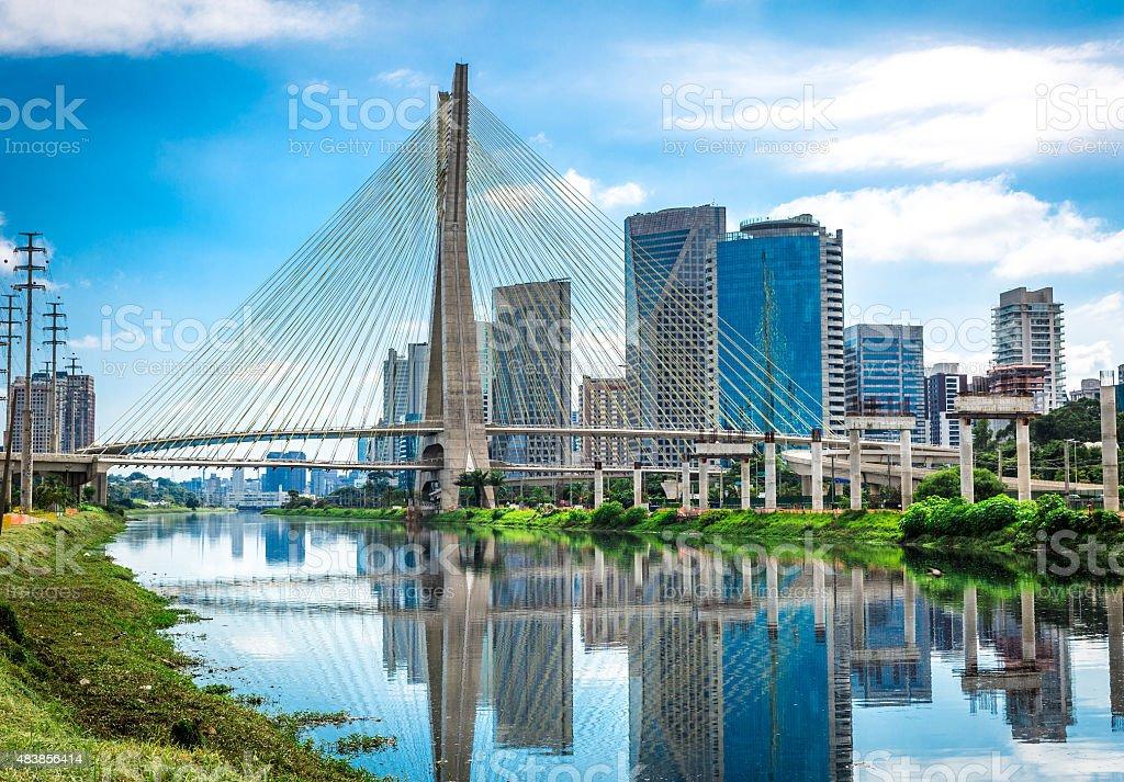 Estaiada Bridge in Sao Paulo, Brazil stock photo