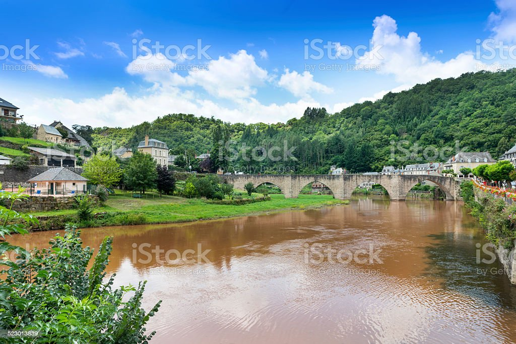 Estaing Medieval Village stock photo