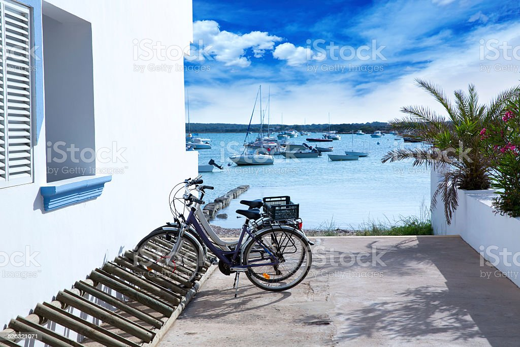 Estany des Peix in formentera with bicycles parking lot stock photo