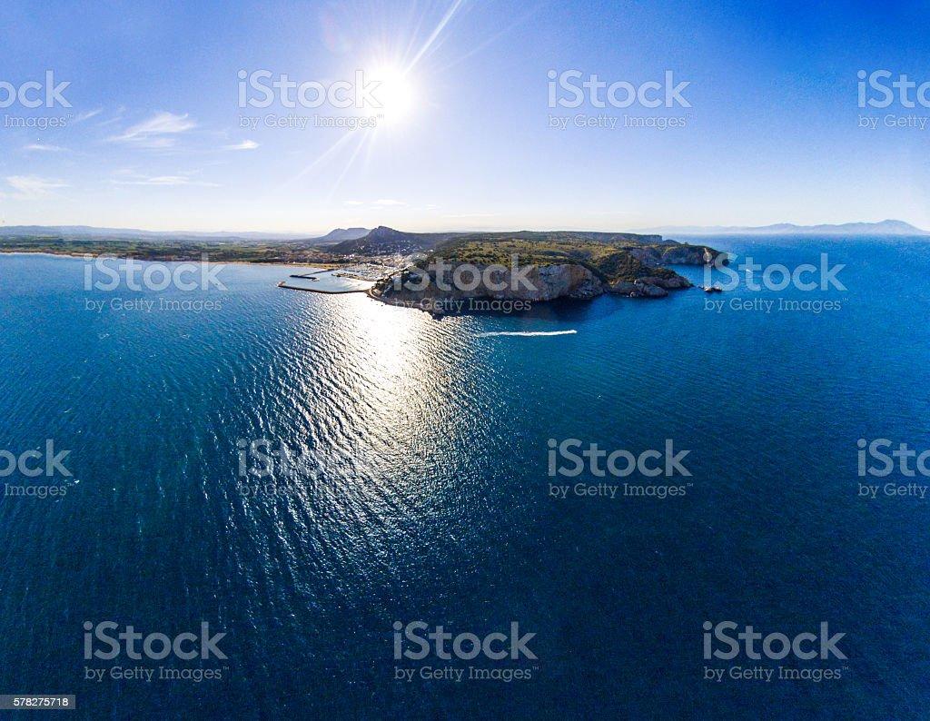 L'estartit sun costa brava clouds drone top view stock photo